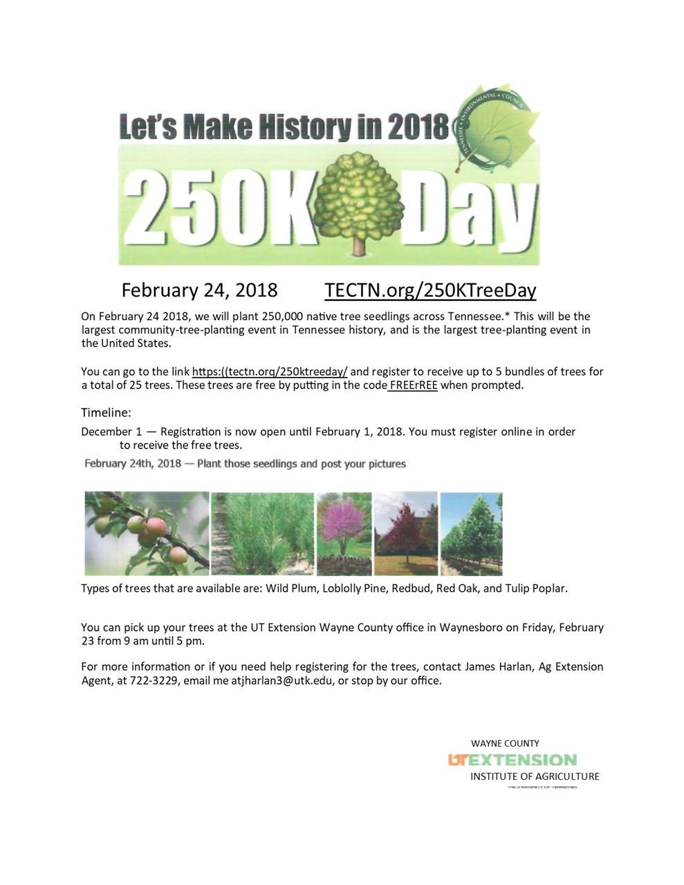 Wayne County Chamber of Commerce - 250 K Tree Day